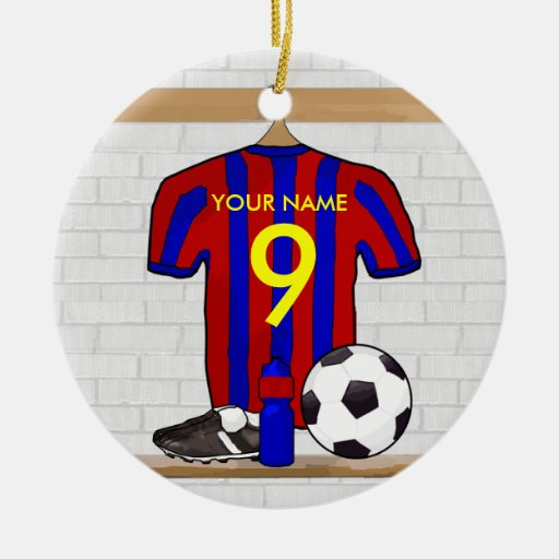 Personalised Red and blue football soccer Jersey Christmas Ornaments