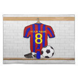 Personalised Red and Blue Football Soccer Jersey Cloth Place Mat