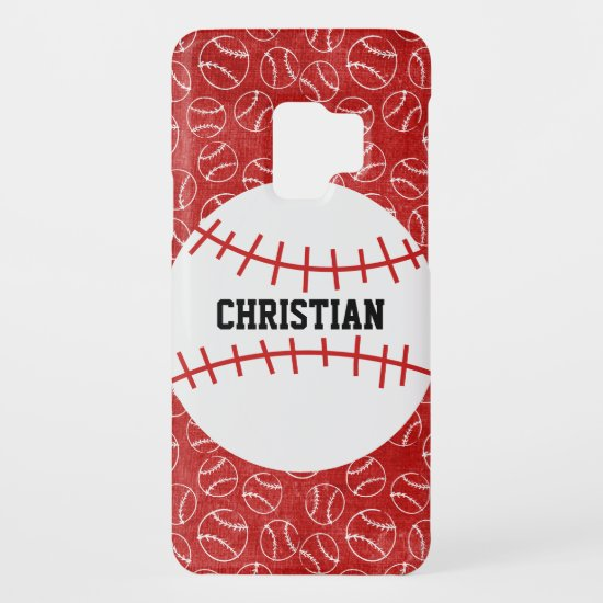 Personalised Red Baseball Pattern with Baseball Case-Mate Samsung Galaxy S9 Case