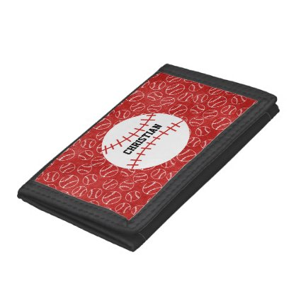 Personalised Red Baseball Pattern with Baseball Trifold Wallets