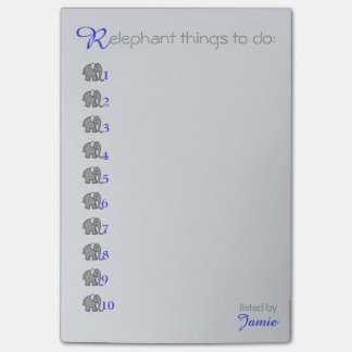 "Personalised ""RElephant"" To-Do-List with Elephants Post-it Notes"