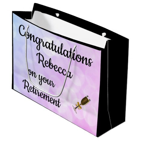 Personalised Retirement design Large Gift Bag