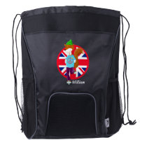 Personalised Rollerskating Fox Drawstring Backpack