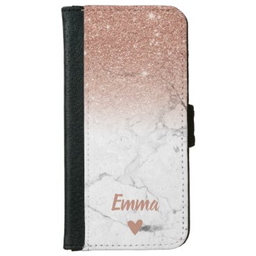 Personalised Rose Gold Glitter and Marble Ombre iPhone 6/6s Wallet Case