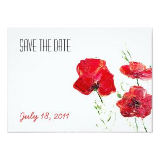 Personalised Save The Date Painted Poppies Card