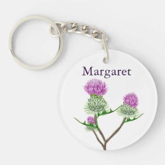 Personalised Scottish Thistle Single-Sided Round Acrylic Keychain