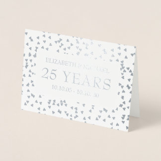 Personalised Silver Hearts 25th Anniversary Foil Card