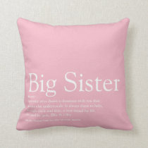 Personalised Sister, Big Sister definition Throw Pillow
