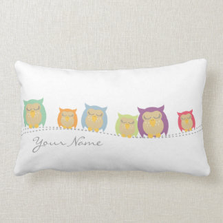 Personalised Sleeping Owls Pillow - White