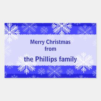 Personalised Snowflake Christmas Sticker Blue