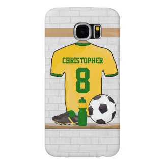 Personalised Soccer Football Jersey Yellow Green Samsung Galaxy S6 Case