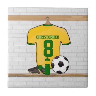 Personalised soccer jersey yellow green ceramic tile
