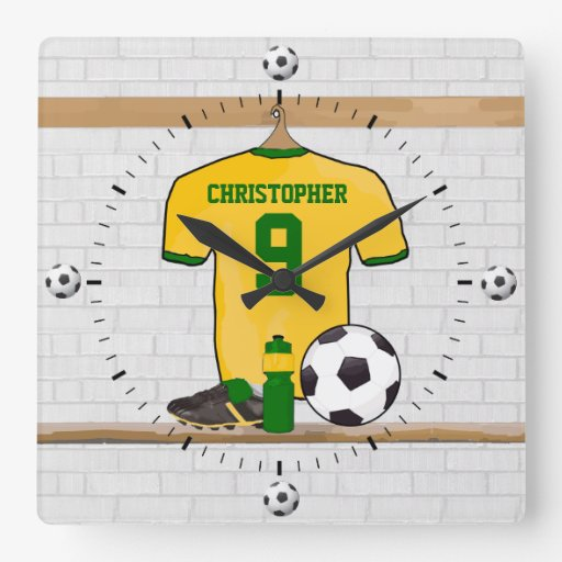 Personalised soccer jersey yellow green clocks