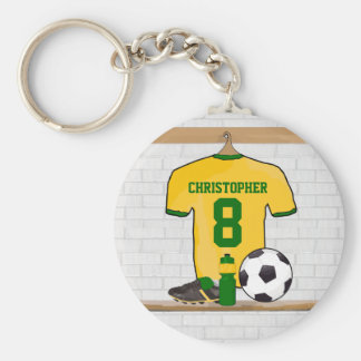 Personalised soccer jersey yellow green key chains