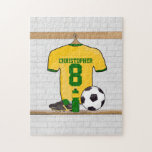 Personalised soccer jersey yellow green jigsaw puzzle