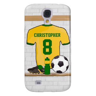 Personalised soccer jersey yellow green samsung s4 case