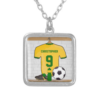 Personalised soccer jersey yellow green square pendant necklace