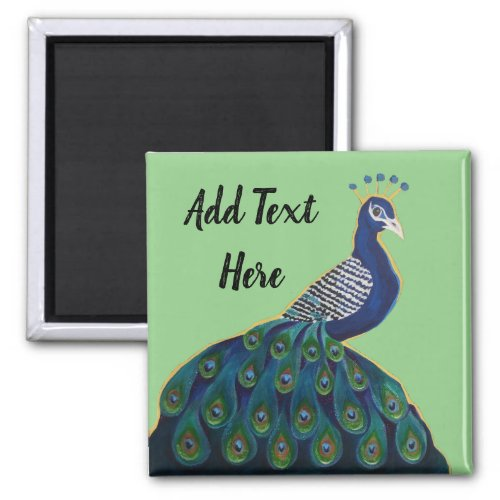 Personalised Text Blue Peacock Green Background Magnet