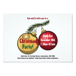 Personalised Text Christmas Tree Baubles Cartoon Card