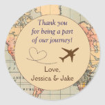 "Personalised Thank You Stickers- Wedding Favors Classic Round Sticker<br><div class=""desc"">These stickers, designed by Aesthetic Journeys, feature a map background with an adorable airplane with heart graphic. They are perfect for the destination wedding or for the couple who loves to travel. Perfect addition to your save the dates, use on the envelope for a special touch. These stickers can be...</div>"