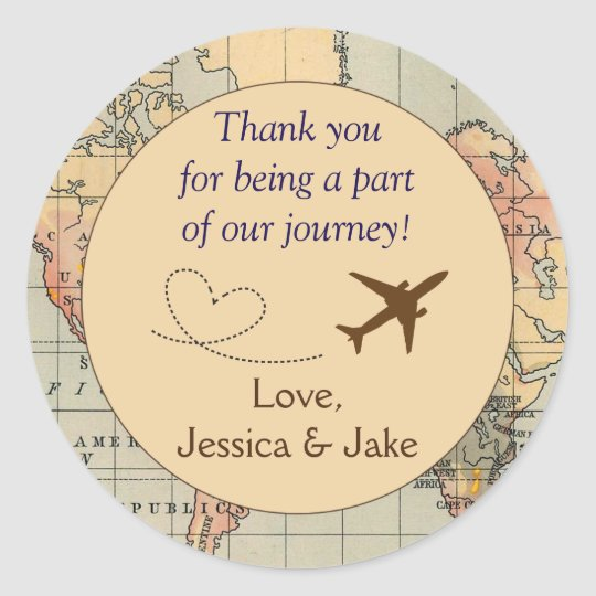 Personalised thank you stickers wedding favors classic round sticker