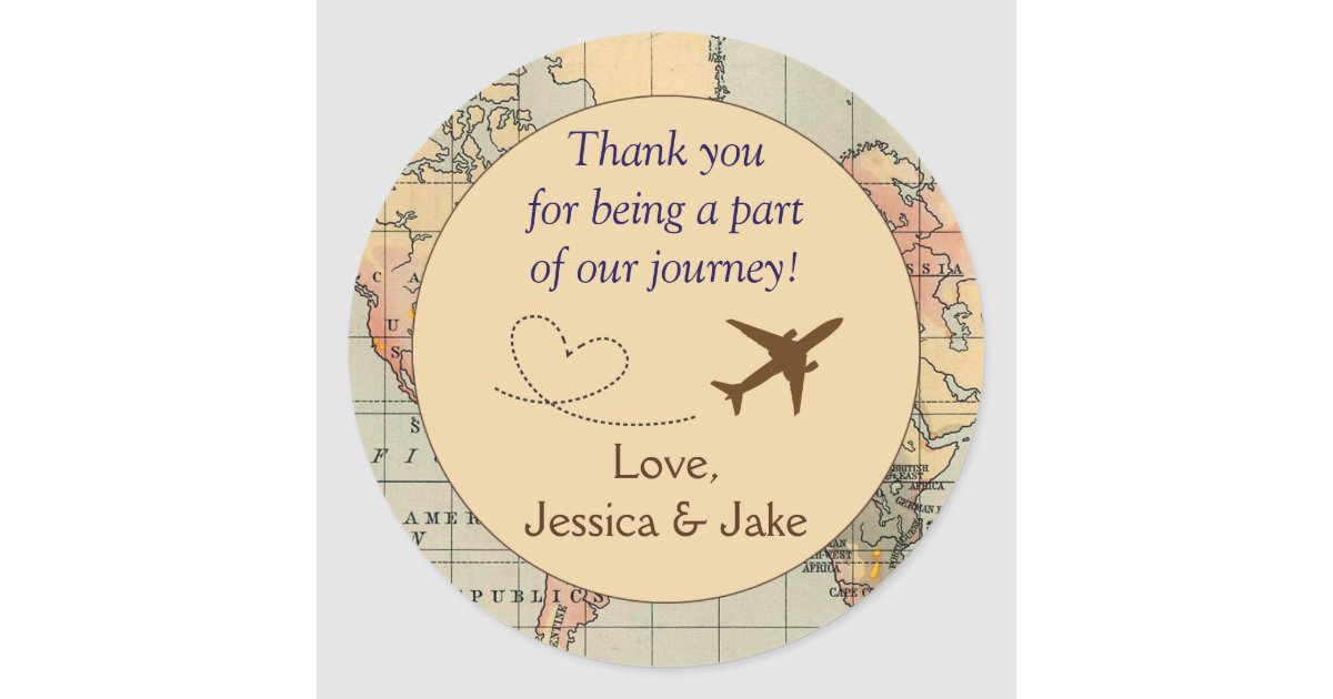 Personalised Thank You Stickers Wedding Favors Clic Round Sticker Zazzle