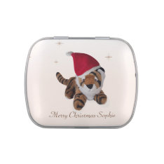 Personalised Tiger In Santa Hat Candy Tin at Zazzle