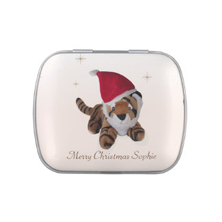 Personalised Tiger in Santa Hat Candy Tin