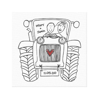 Personalised Tractor Country Farm Wedding Canvas