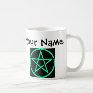 Personalised Turquoise Pentacle Wiccan Mug