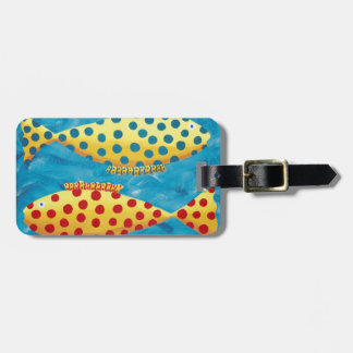 Personalised Two Spotty Fish Luggage Tag