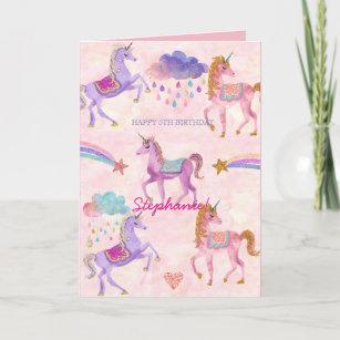 Personalised Unicorn Birthday greeting card