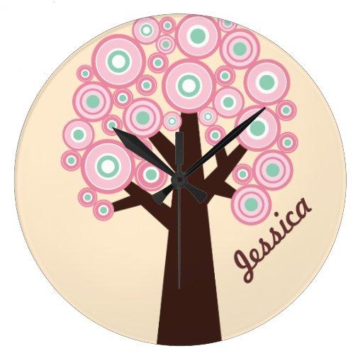 Personalised Wall Clock - Retro Tree Design