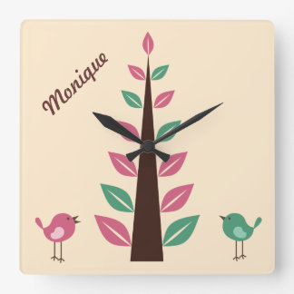 Personalised Wall Clock - Retro Tree Two Birds