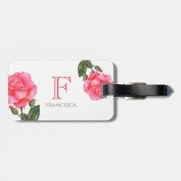 Personalised Watercolor Pink Roses Floral Monogram Bag Tag