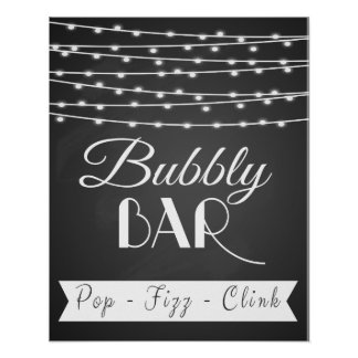 "Personalised wedding ""Bubbly Bar"" chalkboard print"