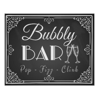 """Personalised Wedding """"Bubbly Bar"""" sign chalkboard Poster"""