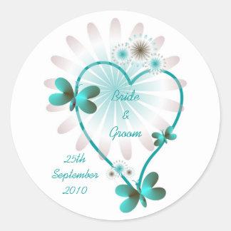 Personalised Wedding Envelope Seal/Sticker Heart Classic Round Sticker