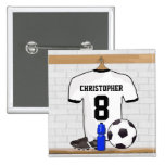 Personalised White   Black Football Soccer Jersey Pinback Button
