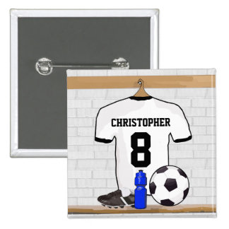 Personalised White | Black Football Soccer Jersey Pinback Button