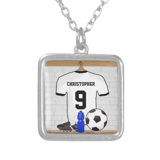 Personalised White | Black Football Soccer Jersey Custom Jewelry