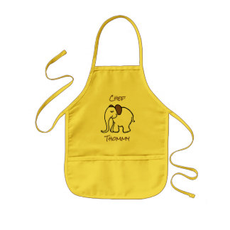 Personalised Yellow Cute Cartoon Baby Elephant Kids' Apron