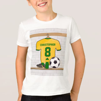 Personalised Yellow Green Football Soccer Jersey T-Shirt