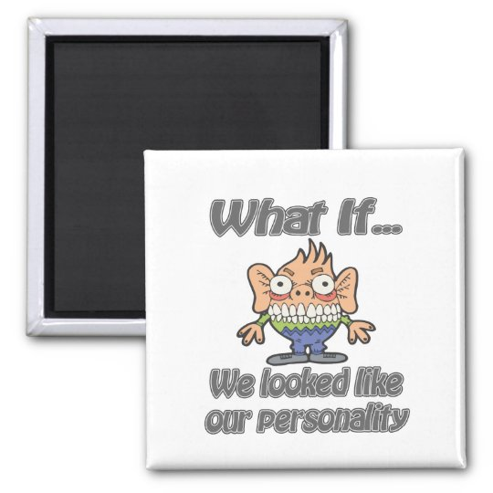 personality looks 2 inch square magnet