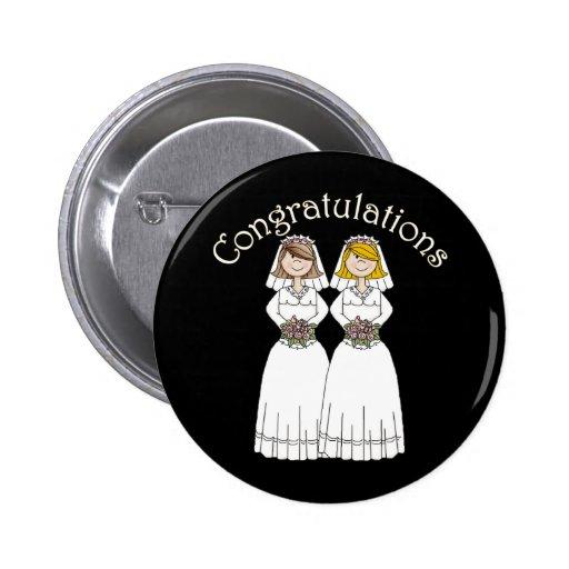 Personalizable 2 novias que casan camisetas y los  pin redondo 5 cm