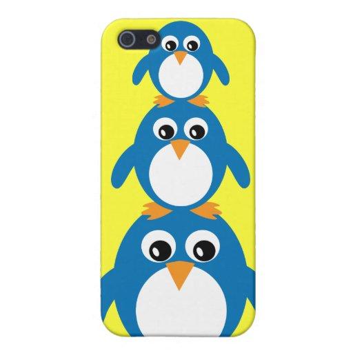 Personalizable amarillo de los pingüinos lindos de iPhone 5 funda