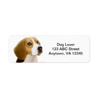 Personalizable amistoso del perro del beagle etiqueta de remitente