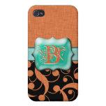 """Personalizable anaranjado del monograma """"B"""" de la  iPhone 4 Protector"""