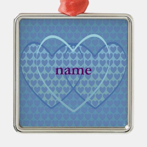 Personalizable: Azul de corazones Adorno Cuadrado Plateado