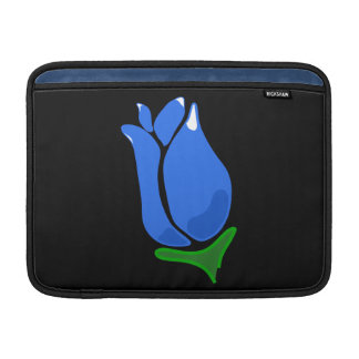 Personalizable azul del capullo de rosa funda para macbook air